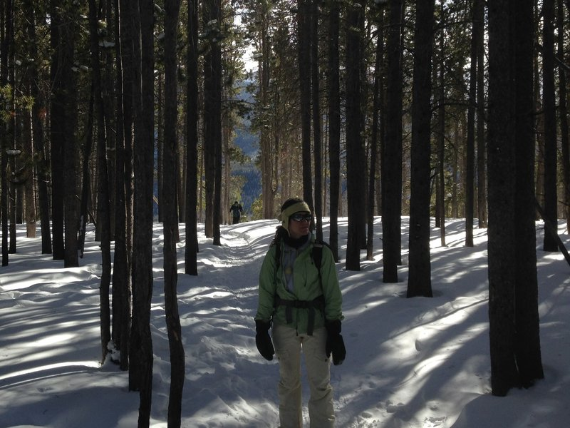 At the top of the climb up to Bierstadt Lake in the winter.