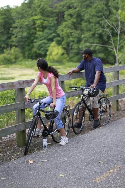 Taking a break along the Oak Savannah Trail.
