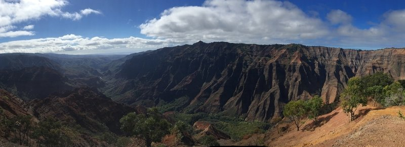 Panoramic view of Waimea Canyon all the way to the ocean.
