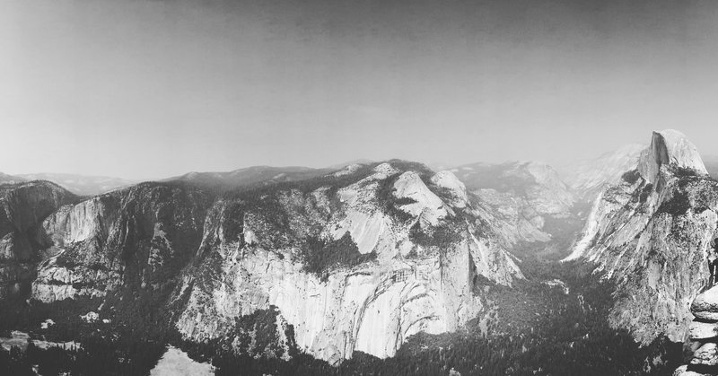 View of Yosemite Valley and Half Dome from Glacier Point.