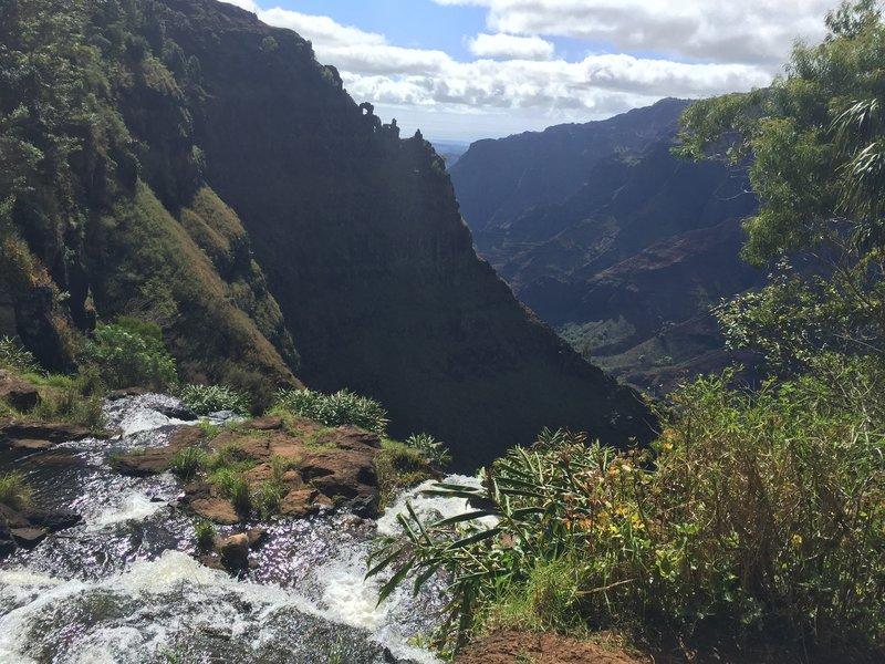 Kokee creek as it spills over and becomes Waipo'o falls.