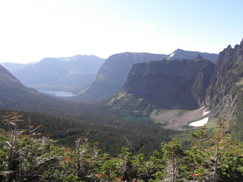 The view near Dawson Pass looking SE towards No Name Lake and Two Medicine Lake (distant).