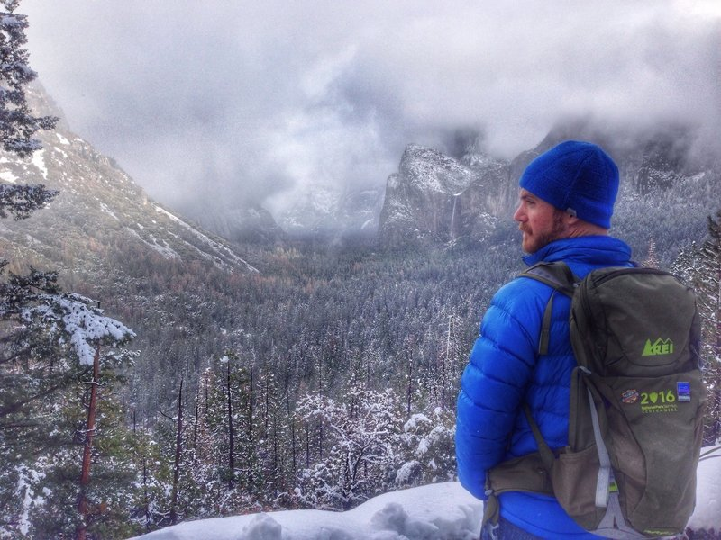 Rocking the REI National Parks Centennial Pack overlooking Yosemite Valley