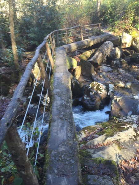 One of the two foot bridges crossing over the cascades