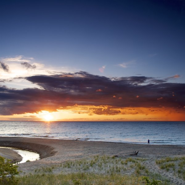 Awesome sunset on Lake Michigan.