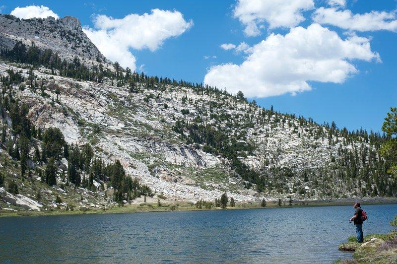 Fishing in Elizabeth Lake, under Unicorn Peak.