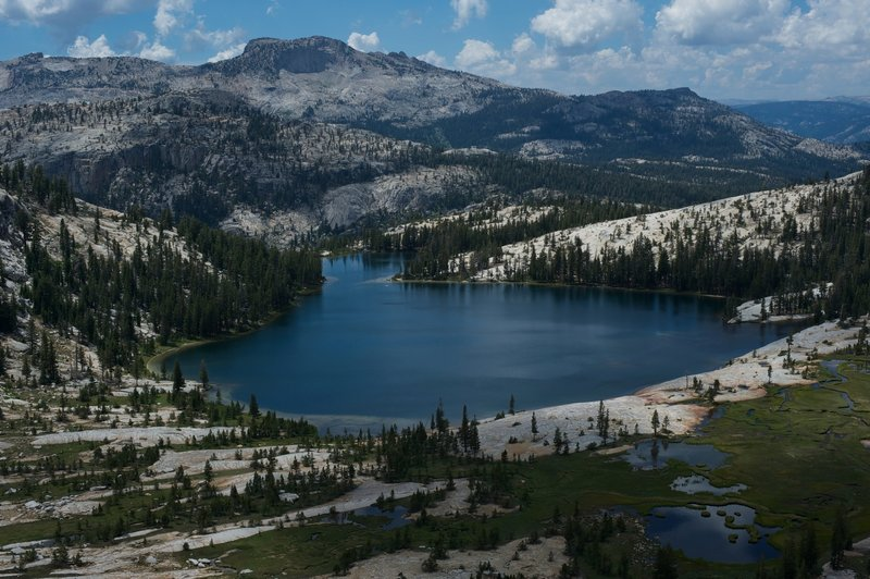 Lower Cathedral Lake from a ridge surrounding Upper Cathedral lake.