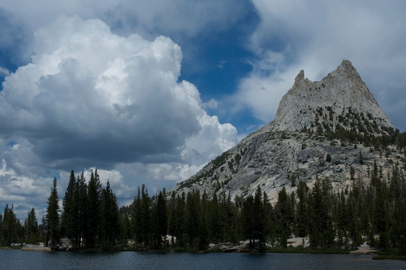 Cathedral Peak and Upper Cathedral Lake.