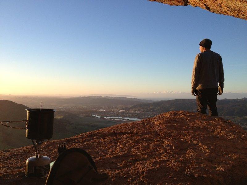 Sunrise breakfast on the summit.