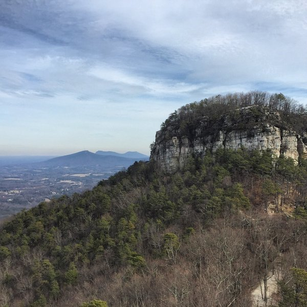 View from Little Pinnacle to Big Pinnacle and the Sauratown Mountains and Hanging Rock beyond.