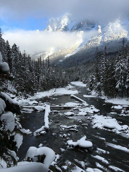 Winter view of Mount Brown above Upper McDonald Creek.