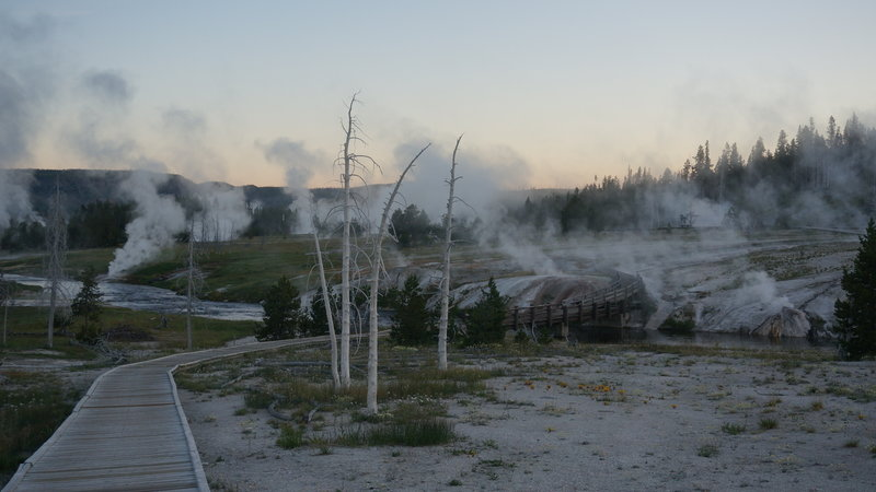 Firehole River and Upper Geyser Basin before Dawn