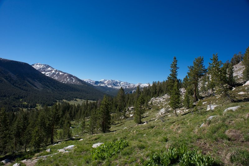 Hiking up the ridge to Middle and Upper Gaylor Lakes.