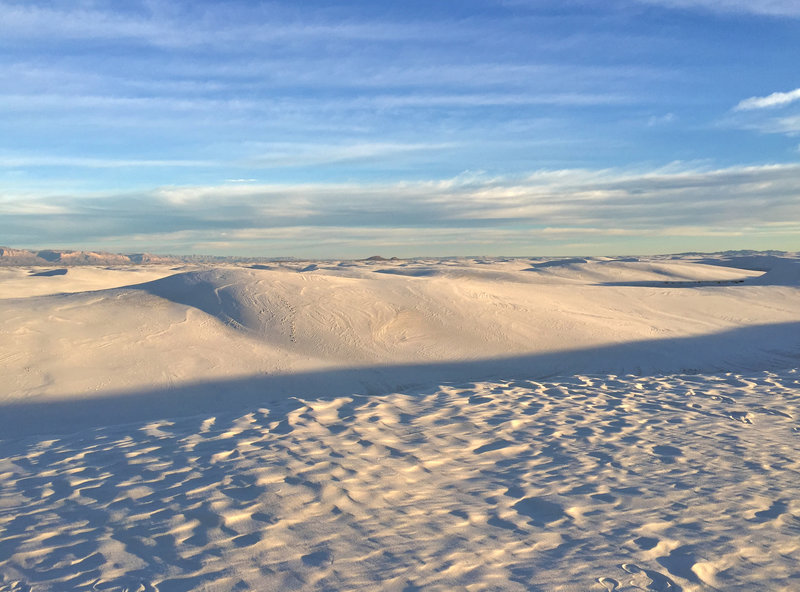 The dunes of White Sands stretch on for miles.