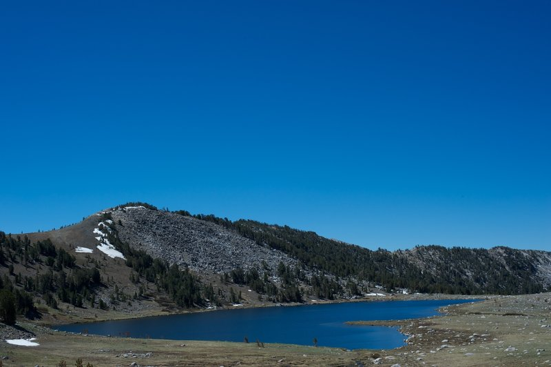 Middle Gaylor Lake from the trail to Upper Gaylor Lake.  Snow can be found in the area, even in June.