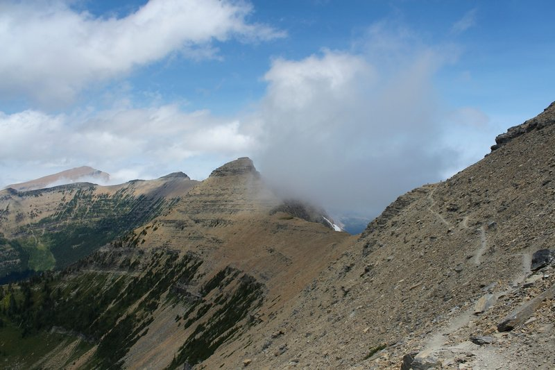 After leaving Pitamakan Pass, the trail winds along the side of Mt. Morgan, with huge views.