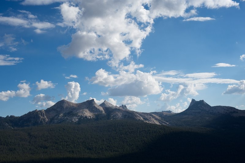 Cathedral Peak and part of the Cathedral Range from Lembert Dome.