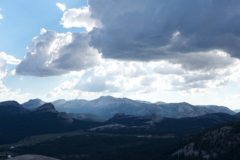 Tuolumne Meadows and clouds from the top of Lembert Dome