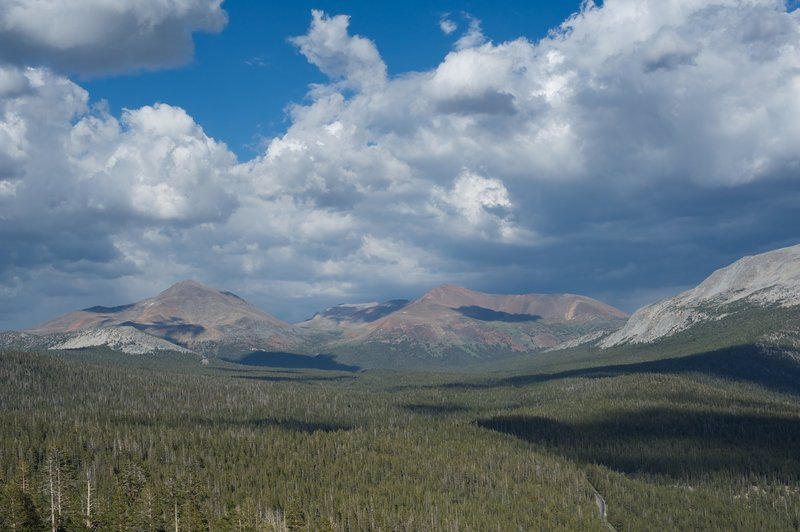 The view toward Tioga Pass from Lembert Dome.