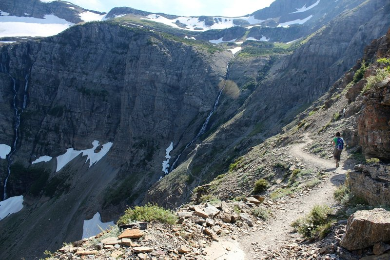 Steep switchbacks from Swiftcurrent Pass.