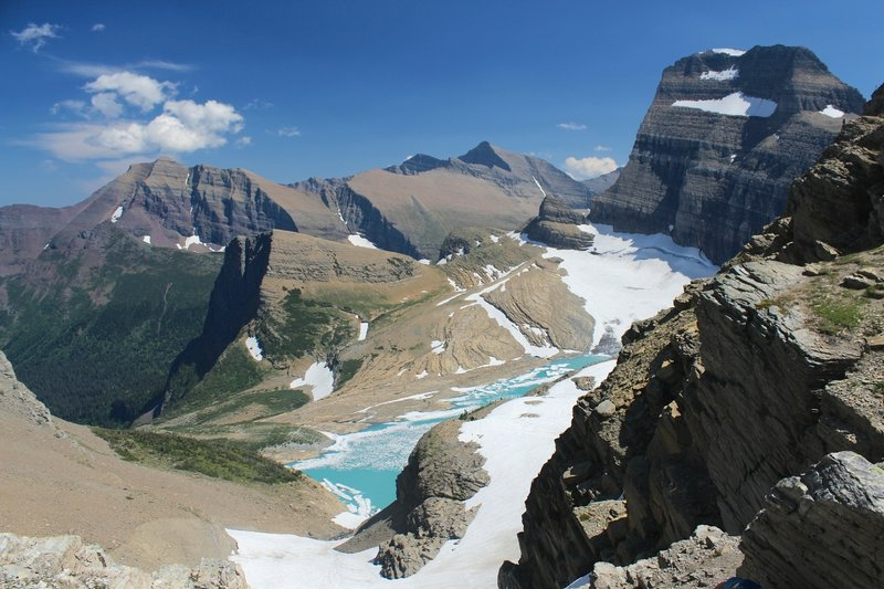 View of Grinnell Glacier from the overlook on the Garden Wall Trail.