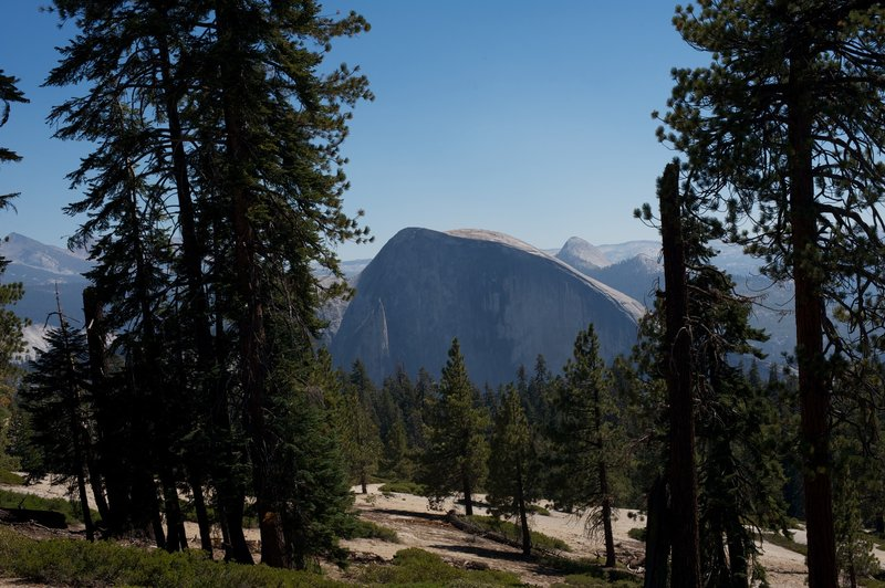 View of Half Dome from the arch on the Indian Rock Trail.