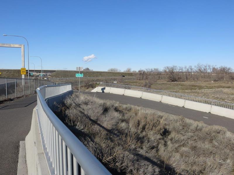 After crossing the Yakima River take the path to the right that drops down and under the bridge.