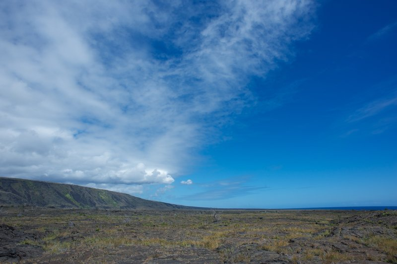 Looking out over the lava field.