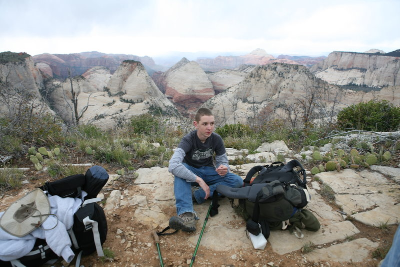 Having lunch on the West Rim Trail.  May 2015