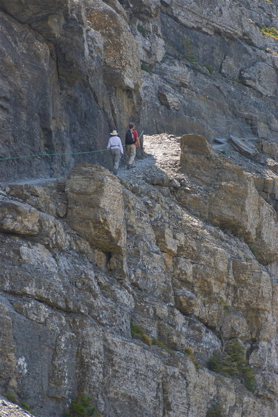 A trail cut into the cliffs.