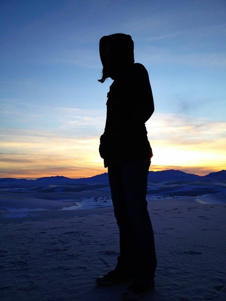 Heather in silhouette.