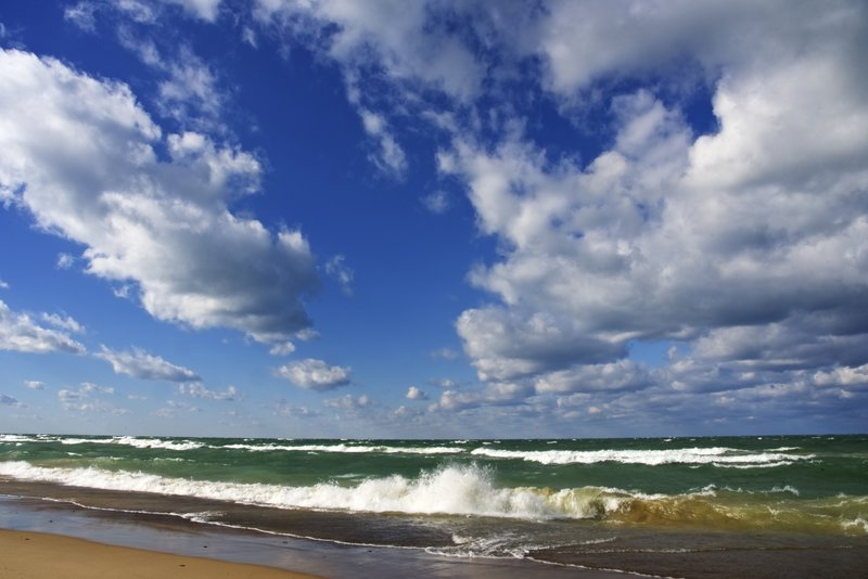 Brilliant colors and clouds on Lake Michigan! Taken near the Lakeview parking lot.