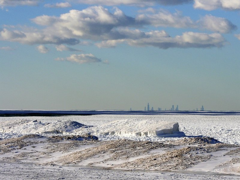 Its hard to believe that that this is Lake Michigan! Shelf ice is truly amazing. Great winter day with Chicago at the horizon.