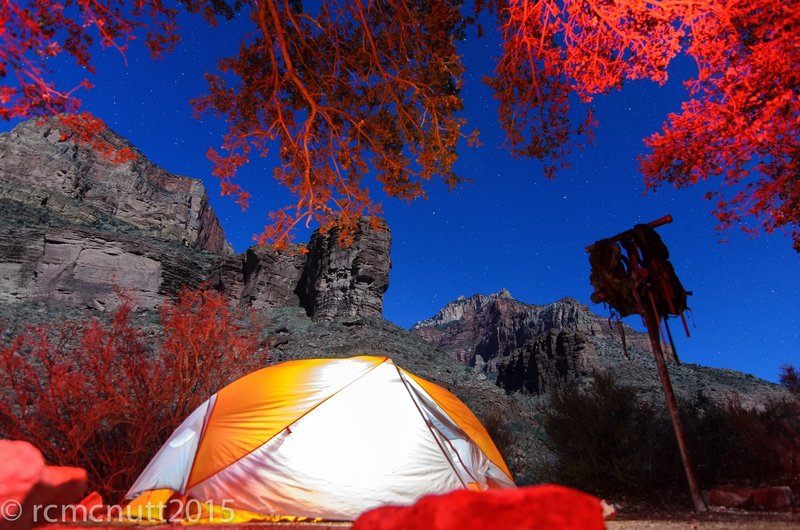 Cottonwood campsite....someone had thier red headlight on...