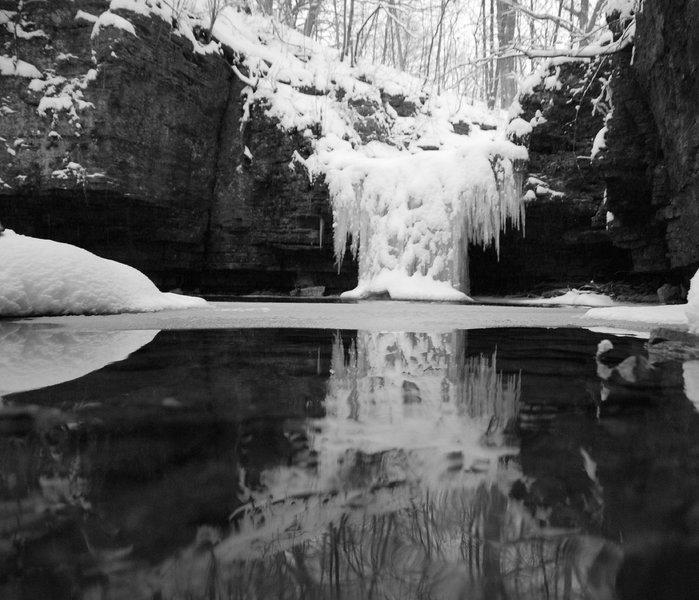 Hidden waterfall in Waterfall Glen DuPage County Forest Preserve