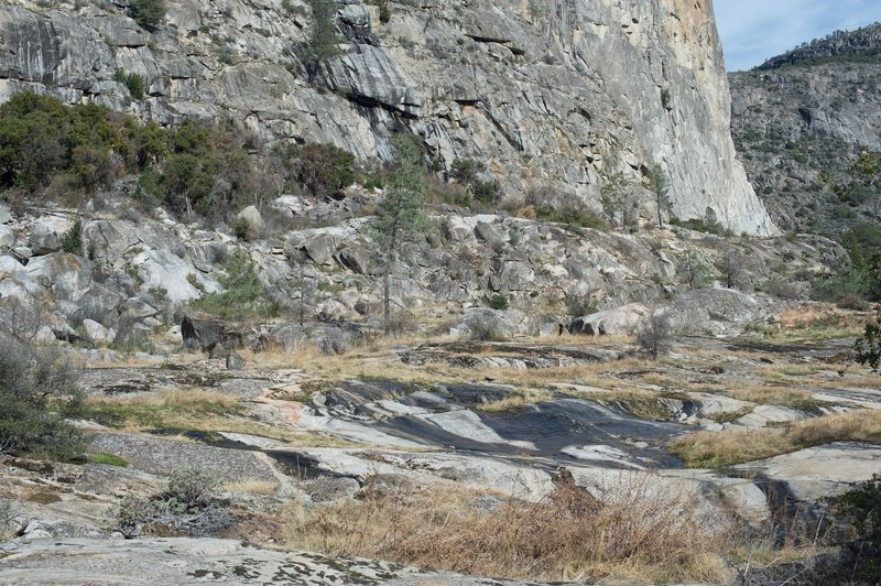 Water makes its way toward to the Hetch Hetchy Reservoir as it flows over part of the trail.