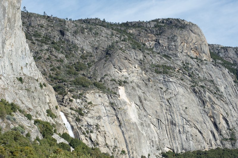 A view of the Tueeulala Falls as you approach from the dam.  Clearly, Hetch Hetchy Dome blocks the view at this point.