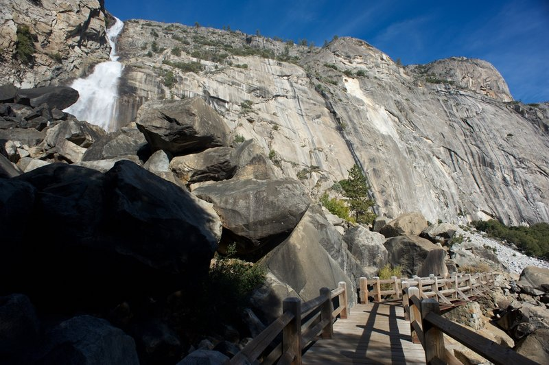 Footbridges will bring you close to the base of the Wapama waterfall.