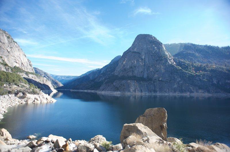 Kolana Rock rises majestically on the opposite side of the Hetch Hetchy Reservoir.