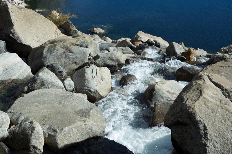 Water below the footbridge as it makes its way into the Hetch Hetchy Reservoir in the fall.