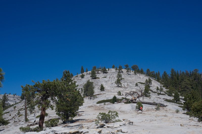 Trail across Indian Ridge as you descend toward North Dome.  Cairns mark the way, as you can see it is an exposed decent.
