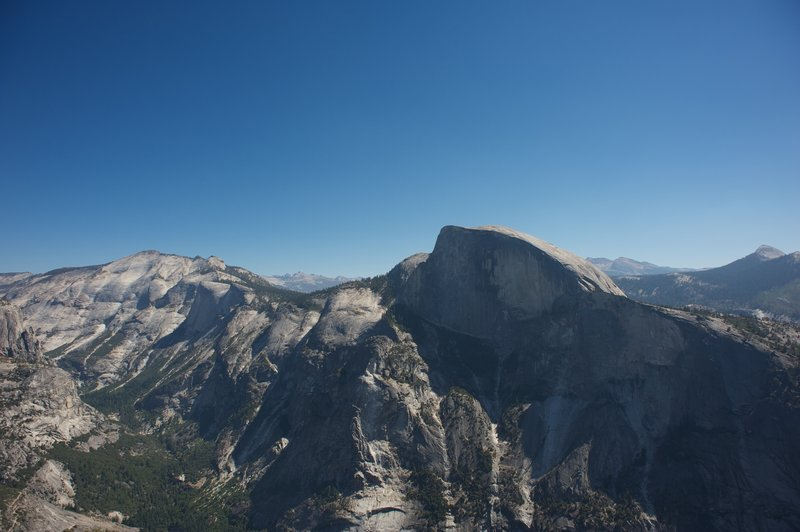 View of Clouds Rest, Quarter Dome, Half Dome, and Mount Starr King from North Dome.