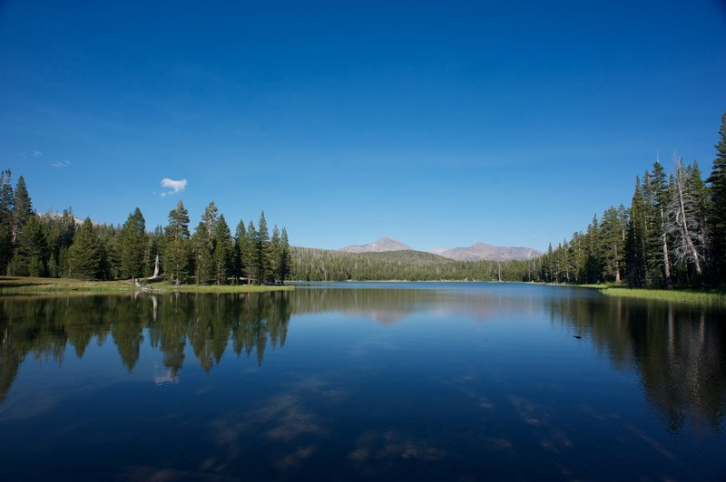 Dog Lake with other high sierra peaks in the background.