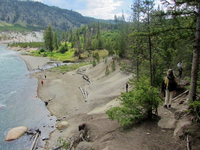 Hikers reach the end of the trail at the Yellowstone River.