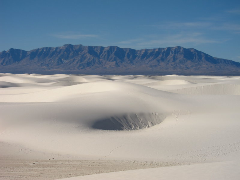 The dunes and the San Andres Mountains.
