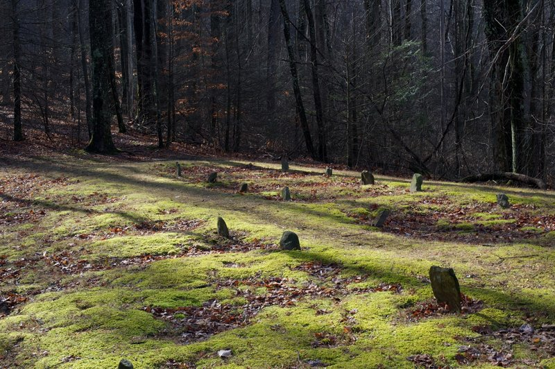 Many of the graves in the cemetery are unmarked.