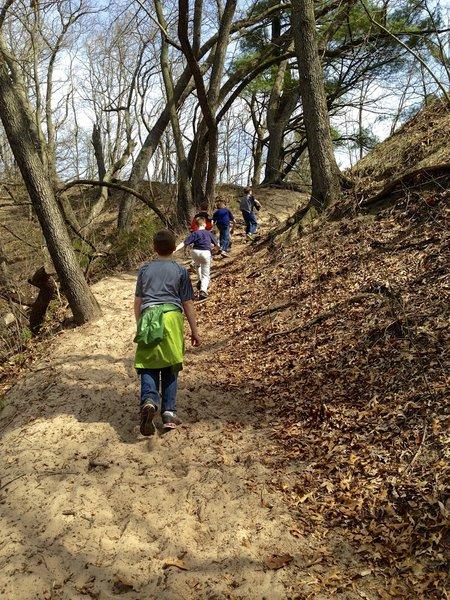 Hiking up the dune ridge on Trail 9.