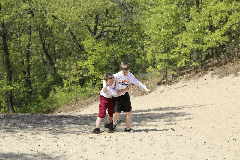 Climbing up Mt. Jackson on the 3 Dunes Challenge.