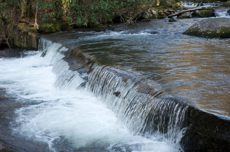 One set of cascades along the Lynn Camp Prong. This is an example of the splash dams that were used to backup water before they were blown up to wash logs downriver to Tremont.