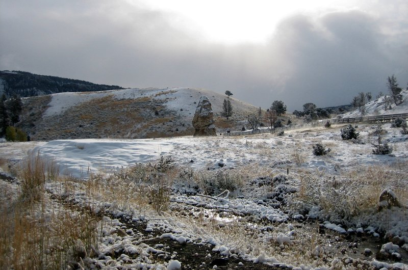 The Beaver Ponds trailhead is near Liberty Cap (an extinct hot spring cone).